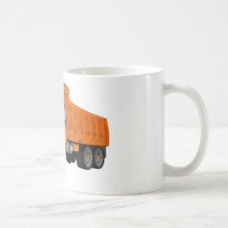 Dibujo animado anaranjado del camión volquete taza clásica