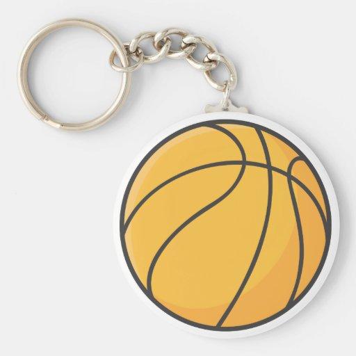 Dibujo animado anaranjado fresco del baloncesto llavero redondo tipo pin