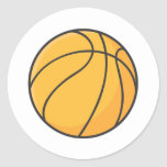 Dibujo animado anaranjado fresco del baloncesto pegatina redonda