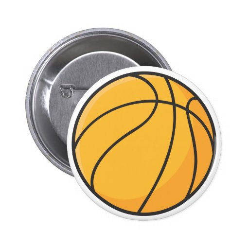Dibujo animado anaranjado fresco del baloncesto pin redondo 5 cm