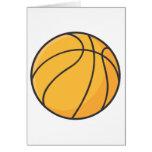 Dibujo animado anaranjado fresco del baloncesto tarjetón
