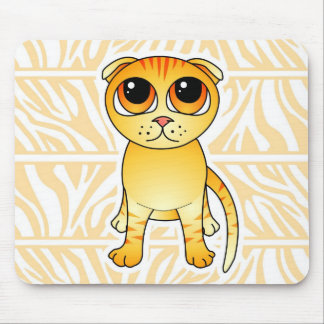 Dibujo animado anaranjado lindo del gato del doble tapetes de ratones