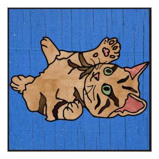 Dibujo animado anaranjado texturizado del gatito fotografía