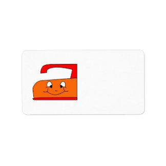 Dibujo animado anaranjado y rojo del hierro En bl Etiqueta De Dirección