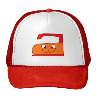 Dibujo animado anaranjado y rojo del hierro. En bl Gorro De Camionero
