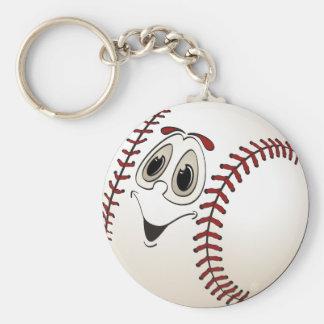 Dibujo animado anguloso del béisbol llavero redondo tipo pin