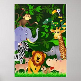 Dibujo animado animal póster
