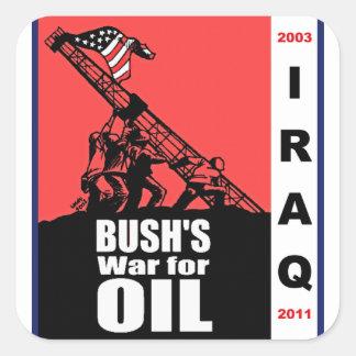 Dibujo animado anti de la guerra de Bush Iraq por Pegatina Cuadradas Personalizadas