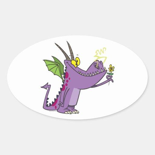 dibujo animado apacible lindo del dragón pegatina ovalada