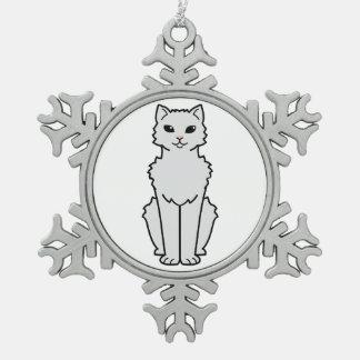 Dibujo animado ártico del gato del rizo adorno de peltre en forma de copo de nieve