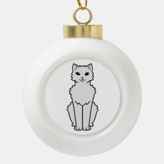 Dibujo animado ártico del gato del rizo adorno de cerámica en forma de bola