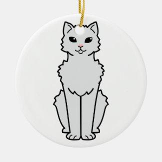 Dibujo animado ártico del gato del rizo adorno redondo de cerámica