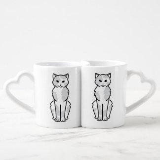 Dibujo animado asiático del uno mismo y del gato tazas para enamorados