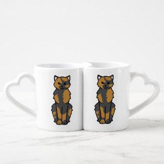 Dibujo animado asiático del uno mismo y del gato tazas para parejas