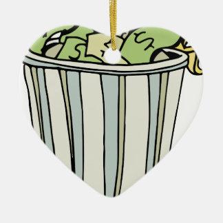 Dibujo animado ausente del dinero que lanza adorno navideño de cerámica en forma de corazón