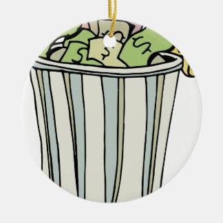 Dibujo animado ausente del dinero que lanza adorno navideño redondo de cerámica