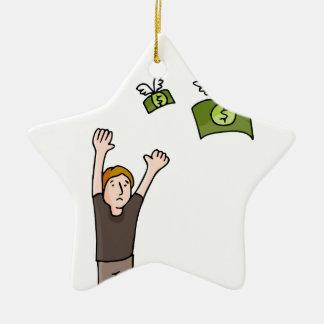 Dibujo animado ausente que vuela del dinero adorno navideño de cerámica en forma de estrella