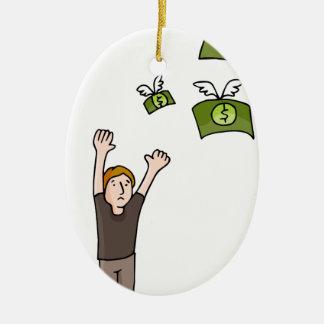 Dibujo animado ausente que vuela del dinero adorno navideño ovalado de cerámica