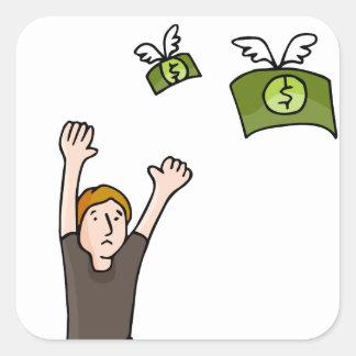 Dibujo animado ausente que vuela del dinero pegatina cuadrada