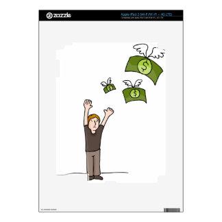 Dibujo animado ausente que vuela del dinero pegatina skin para iPad 3