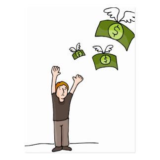 Dibujo animado ausente que vuela del dinero postal