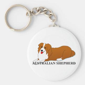 Dibujo animado australiano del perro de pastor llavero redondo tipo pin