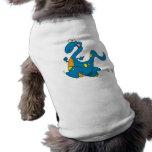 dibujo animado azul corriente lindo tonto del dino camisetas de mascota