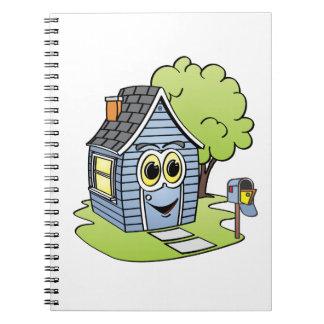 Dibujo animado azul de la casa libros de apuntes