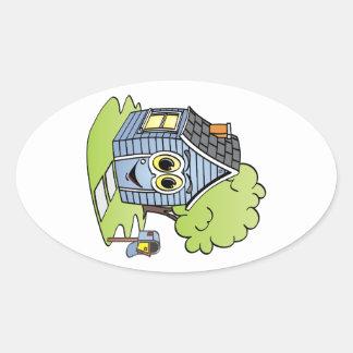 Dibujo animado azul de la casa pegatina ovalada