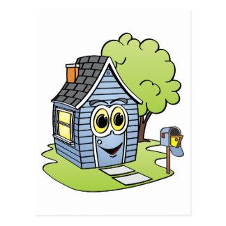 Dibujo animado azul de la casa postal