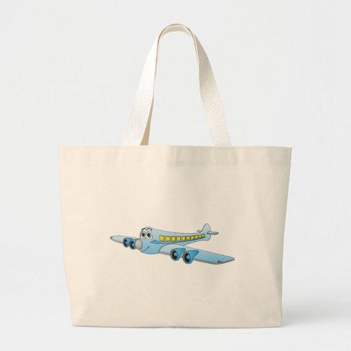 Dibujo animado azul del avión de pasajeros bolsa tela grande