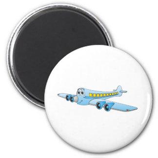 Dibujo animado azul del avión de pasajeros iman de nevera