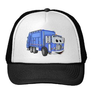 Dibujo animado azul del camión de basura del dibuj gorra