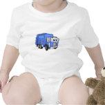 Dibujo animado azul del camión de basura del trajes de bebé