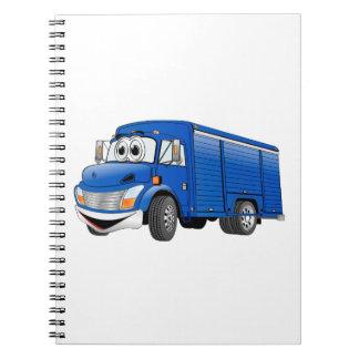 Dibujo animado azul del camión de la bebida libro de apuntes