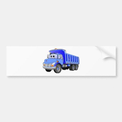Dibujo animado azul del camión volquete etiqueta de parachoque