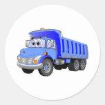 Dibujo animado azul del camión volquete etiqueta