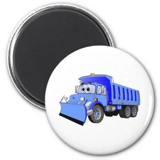 Dibujo animado azul del camión volquete iman para frigorífico