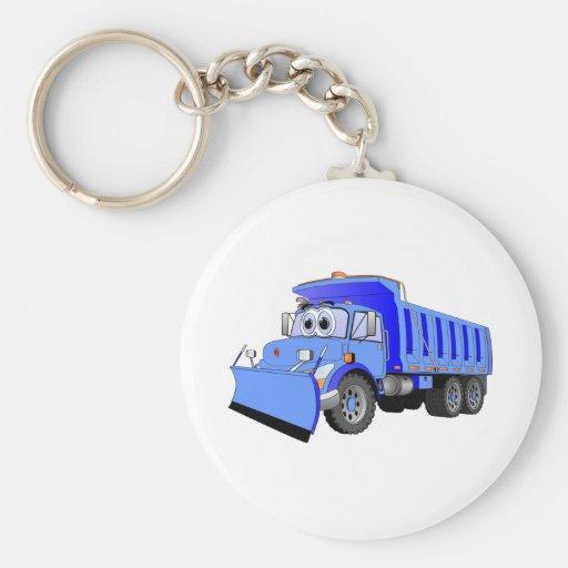 Dibujo animado azul del camión volquete llavero redondo tipo pin
