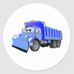 Dibujo animado azul del camión volquete etiqueta redonda