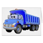 Dibujo animado azul del camión volquete tarjetas