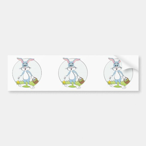 Dibujo animado azul del conejo del conejito de pas pegatina de parachoque