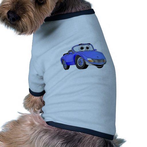 Dibujo animado azul del convertible del coche de d prenda mascota