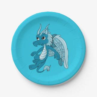 Dibujo animado azul del dragón platos de papel