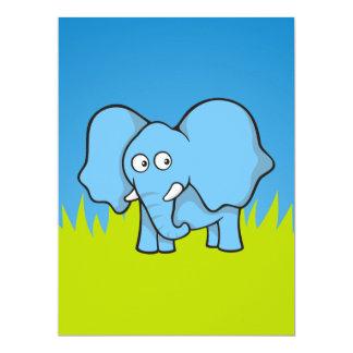 """Dibujo animado azul del elefante invitación 6.5"""" x 8.75"""""""