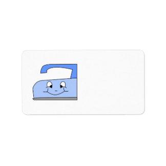 Dibujo animado azul del hierro En blanco Etiqueta De Dirección