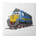 Dibujo animado azul del motor del tren azulejo