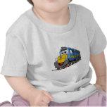 Dibujo animado azul del motor del tren camisetas