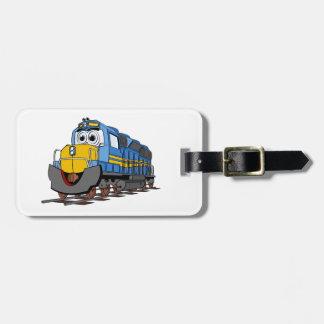 Dibujo animado azul del motor del tren etiquetas para maletas