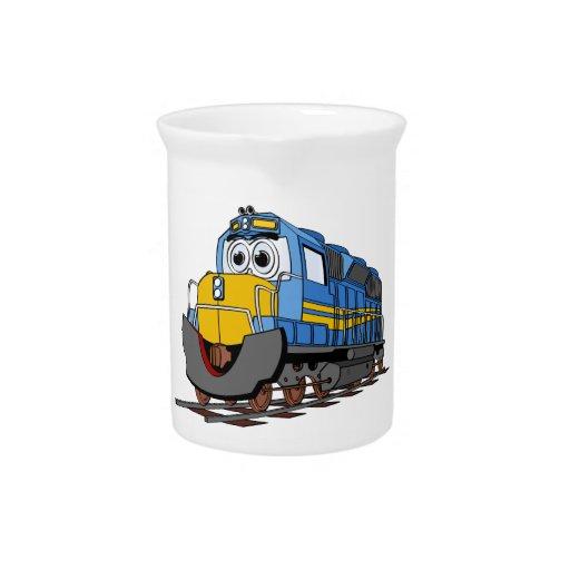 Dibujo animado azul del motor del tren jarras de beber